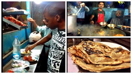 Enjoying chicken tikka masala on the streets of Khar Road