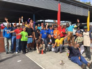 In Hanover Park. Happy team at the end of distribution